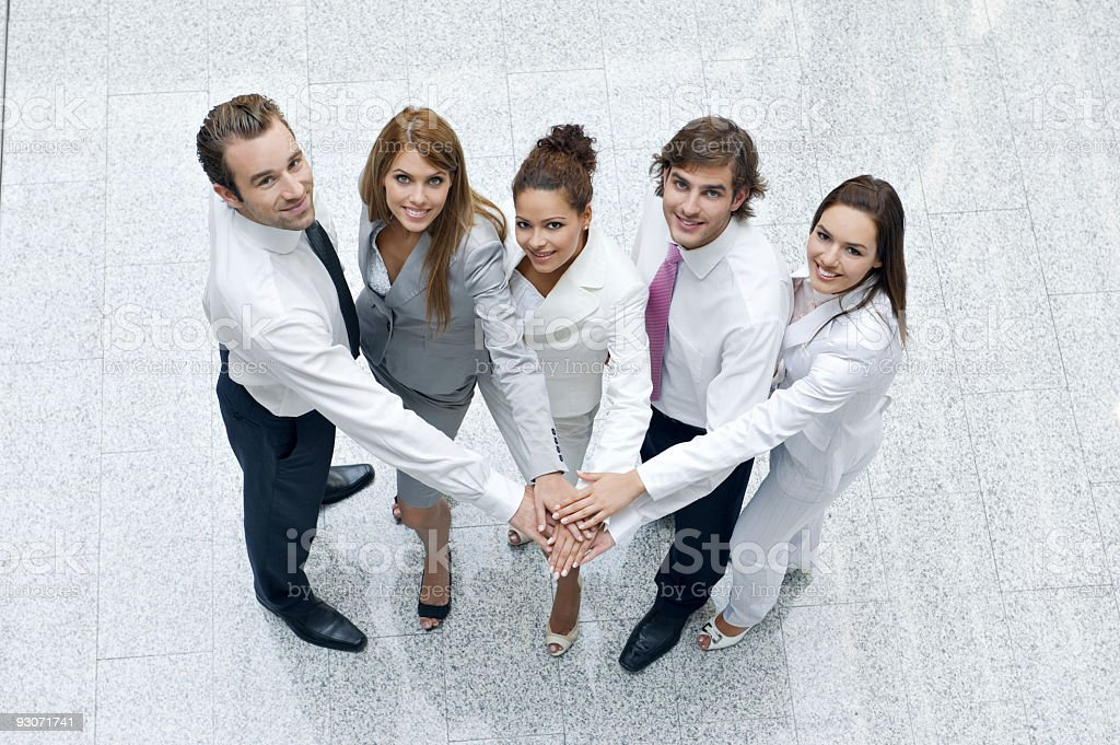 Top view of business people looking upwards royalty-free stock photo