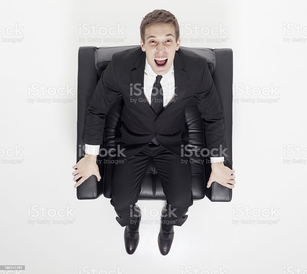 Top View Of Businessman Sitting In An Arm Chair Stock Photo ...