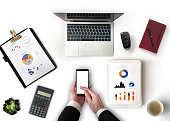 Financial Report, Mobile Phone, Scale, Analyzing