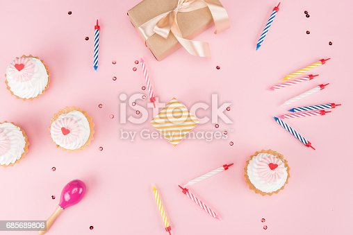 istock top view of cakes with candles and gift boxes with confetti mock-up, birthday party 685689806