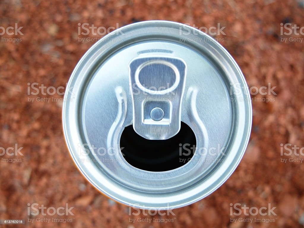 Top view of can. stock photo