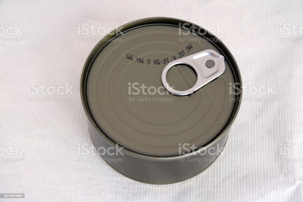 top view of canned on white background. stock photo