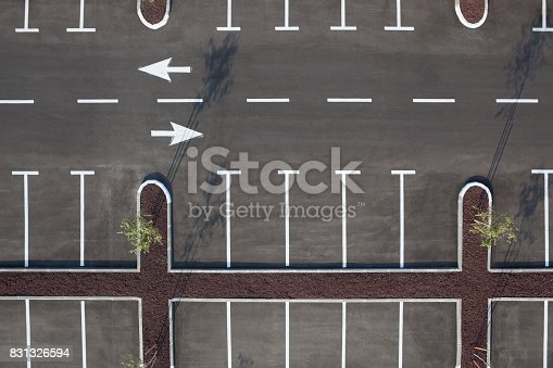 istock Top view of car parking lot. Transportation Services. 831326594