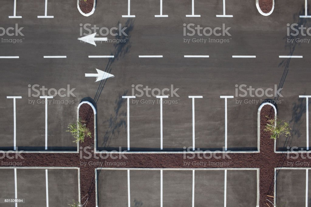 Top view of car parking lot. Transportation Services. stock photo