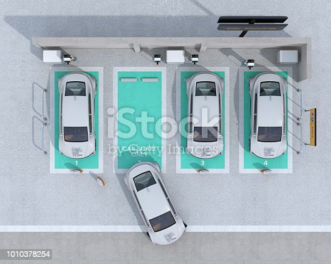 istock Top view of car sharing parking lot equipped with charging station and batteries 1010378254