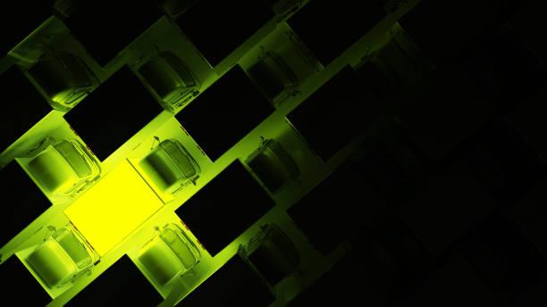 Top View of Cargo Truck Glowing Green in the Dark – Foto