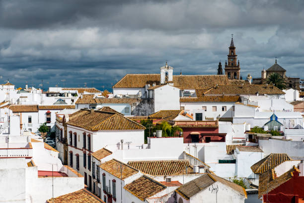 Top view of Carmona, one of the famous pueblos blancos or white villages in Andalusia, Spain stock photo