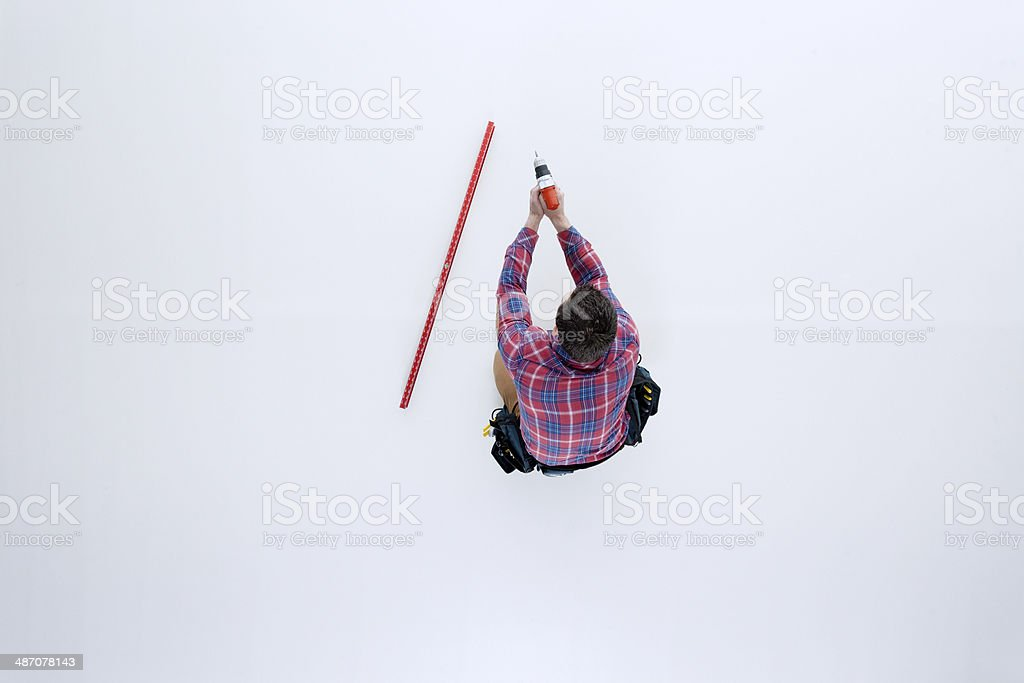 Top view of carpenter drillng royalty-free stock photo