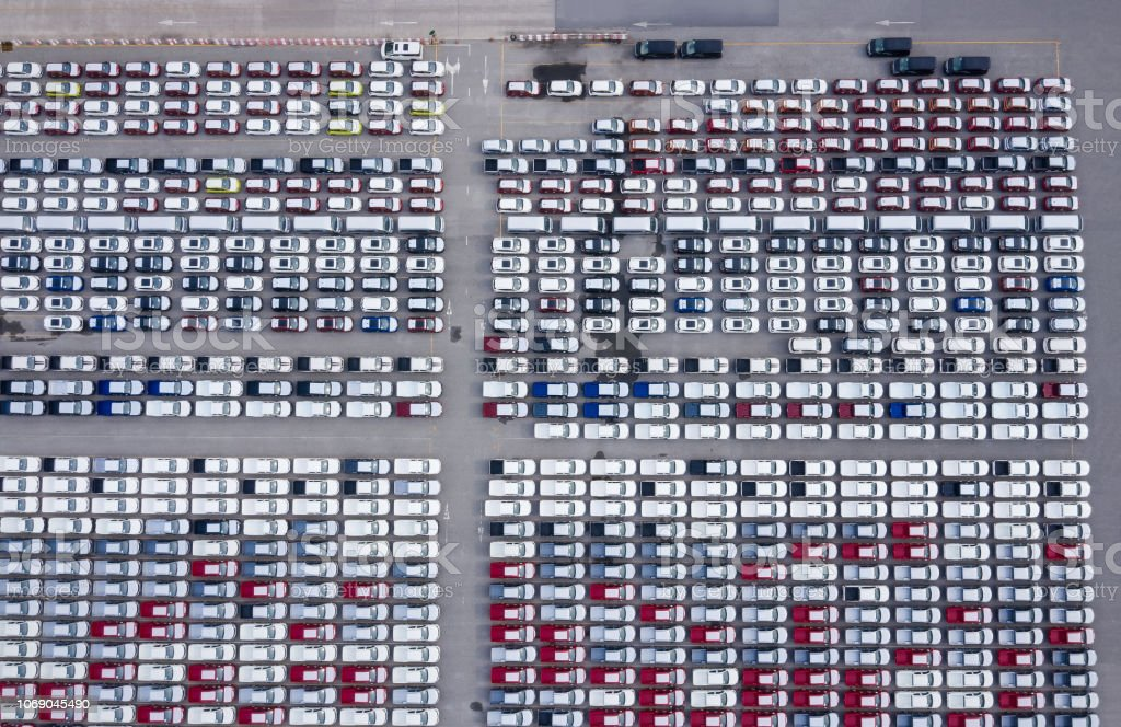 Top View Of Cars For Sale Stock Lot Row As The Car Dealer