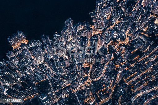 Top view of central district in Hong Kong China at night
