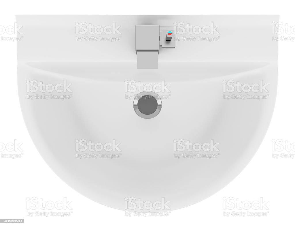 bathroom sink top view. Top View Of Ceramic Bathroom Sink Isolated On White Background Stock Photo