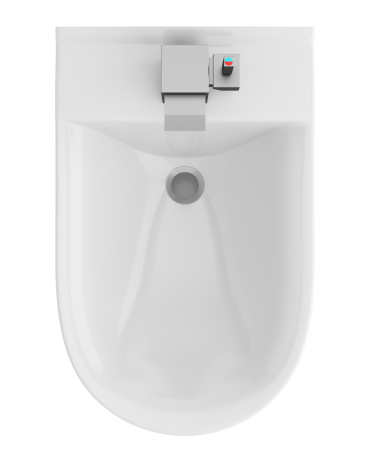 Top View Of Ceramic Bidet Isolated On White Background Stock Photo