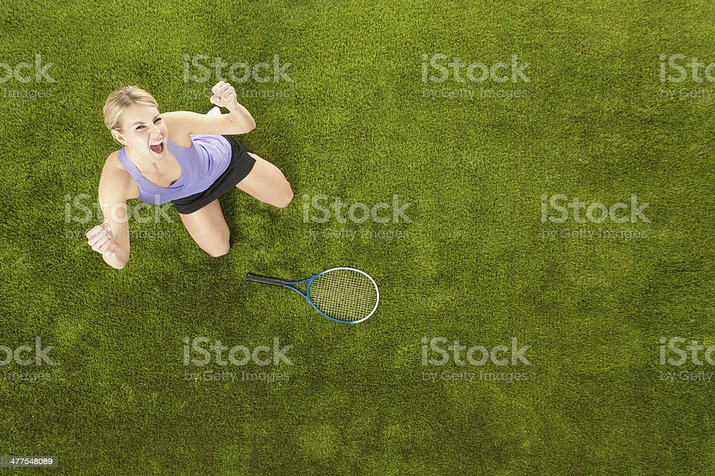 Top view of cheerful tennis player stock photo