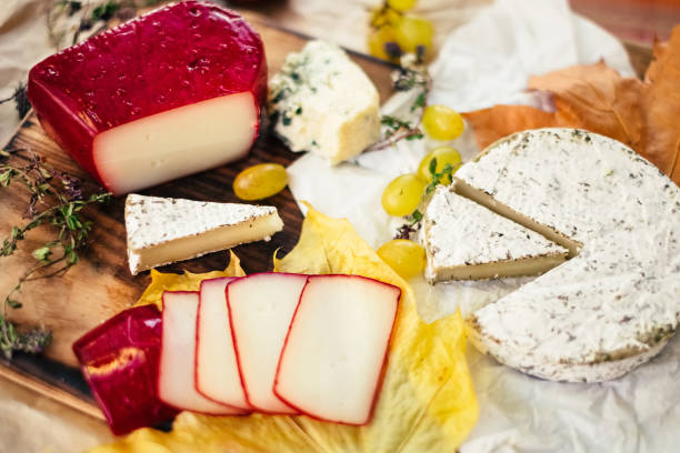 Top view of cheese set on wooden background stock photo