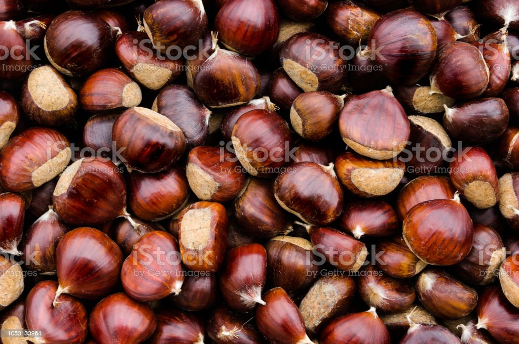 Top view of chestnuts. - foto stock