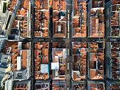 Top View of Chiado Houses in Lisbon, Portugal