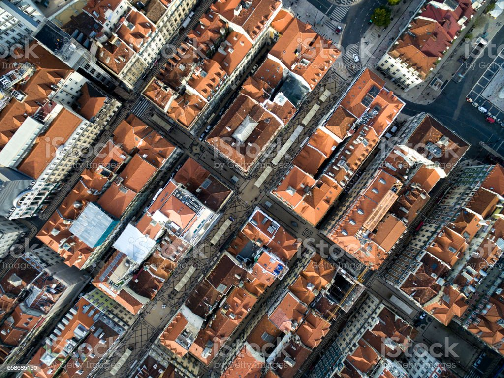 Top View of Chiado Houses in Lisbon, Portugal stock photo