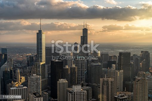 Top view of Chicago cityscape river side at the sunset time, USA downtown skyline, Architecture and building with tourist concept