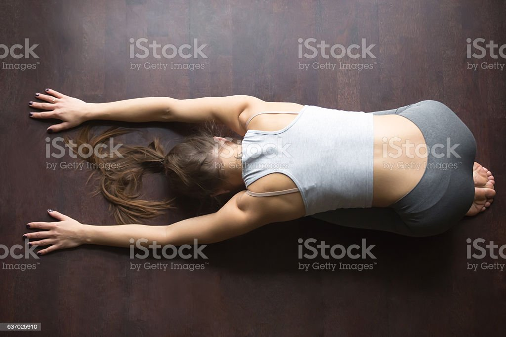 Top view of Child yoga Pose stock photo