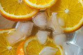 Top view of chill water infused with sliced oranges which is good in vitamin c. Immunity boosting drink.
