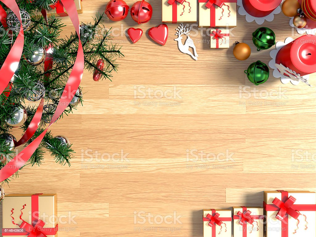 Top View Of Christmas Background With Decorations On Wooden