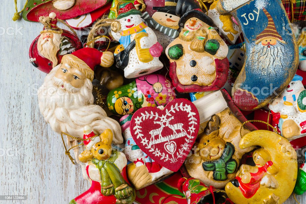 Top view of Christmas decorations, on wooden background - foto stock