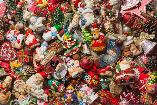 Top view of Christmas decorations. - foto stock