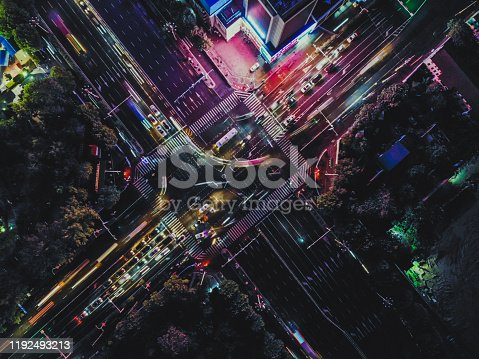 istock Top View of City Street Crossing at Rush Hour 1192493213