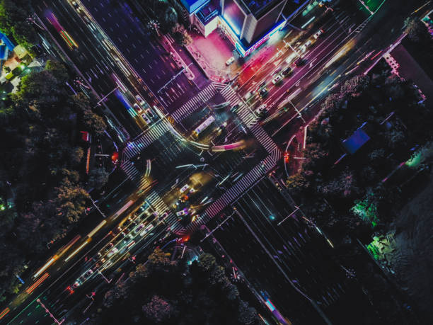 Top View of City Street Crossing at Rush Hour stock photo