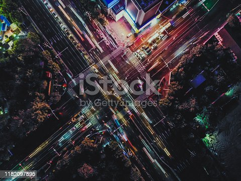 istock Top View of City Street Crossing 1182097895