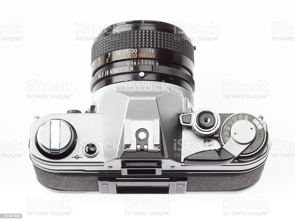 top view of classic 35mm SLR camera royalty-free stock photo