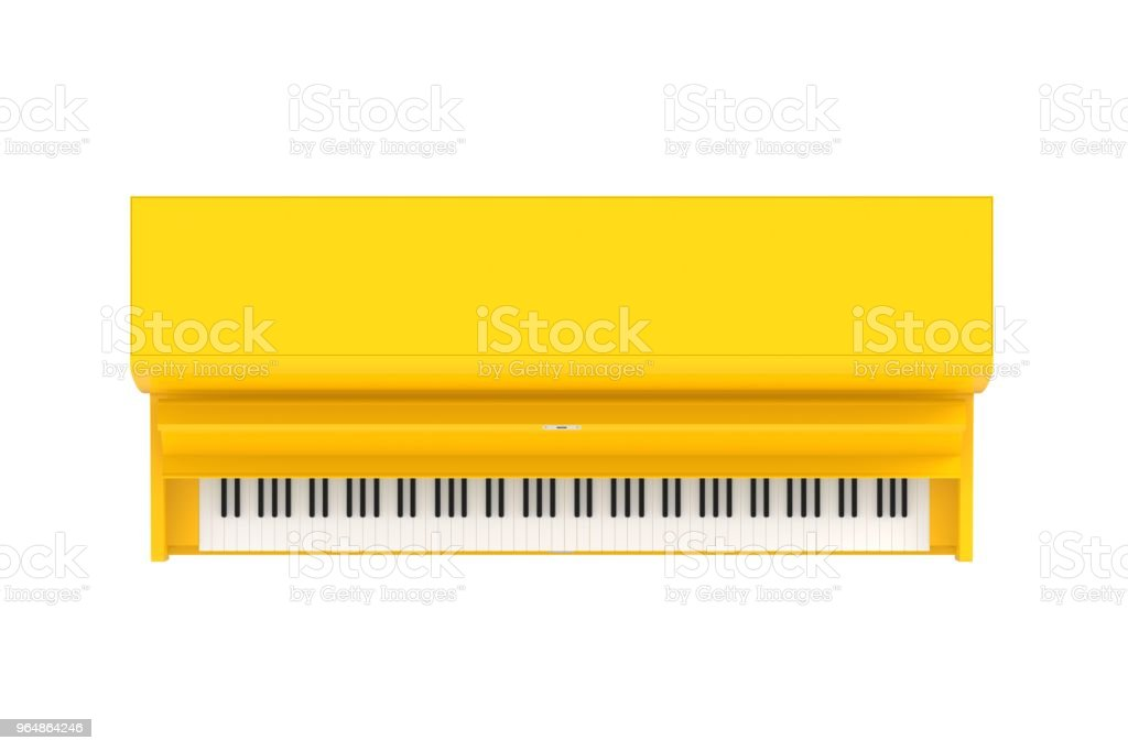 Top view of classic musical instrument yellow piano isolated on white background, Keyboard instrument, 3d rendering royalty-free stock photo