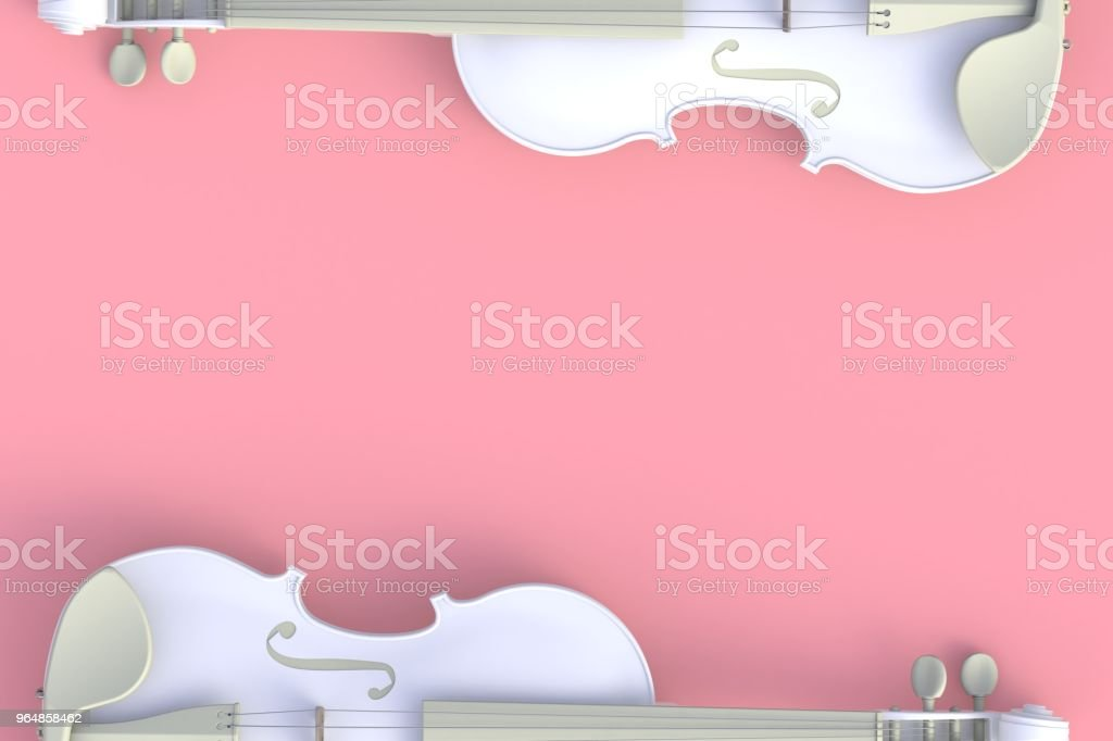 Top view of classical white violin isolated on pink background, String instrument, 3d rendering royalty-free stock photo