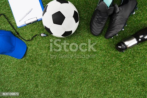 istock top view of clipboard with soccer ball and boots on grass 805109870