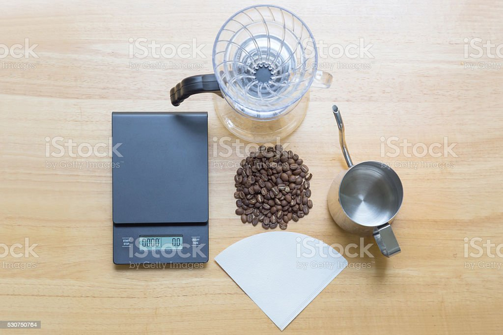 top view of coffee drip equipment on wood background stock photo