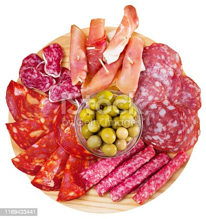 Top view of coldcuts of delicious Spanish cured jamon and piquant sausages garnished with green olives on wooden board. Isolated over white background