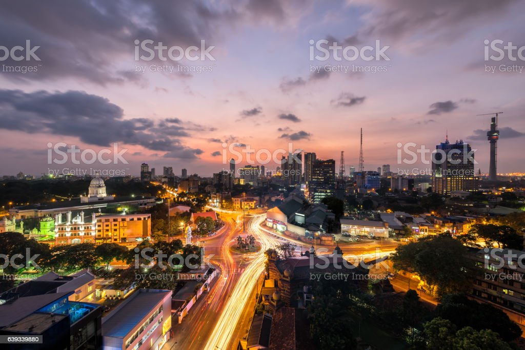 Top view of Colombo city at sunset in Sri lanka stock photo