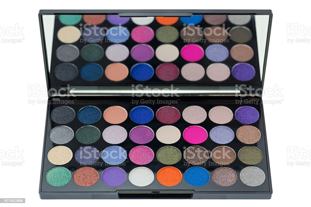 Top view of colorful Eyeshadow. Makeup cosmetic palette on white stock photo