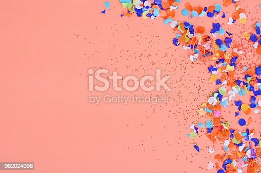 istock Top view of colorful party confetti background 962024096