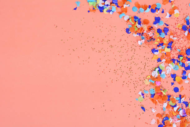 Top view of colorful party confetti background stock photo