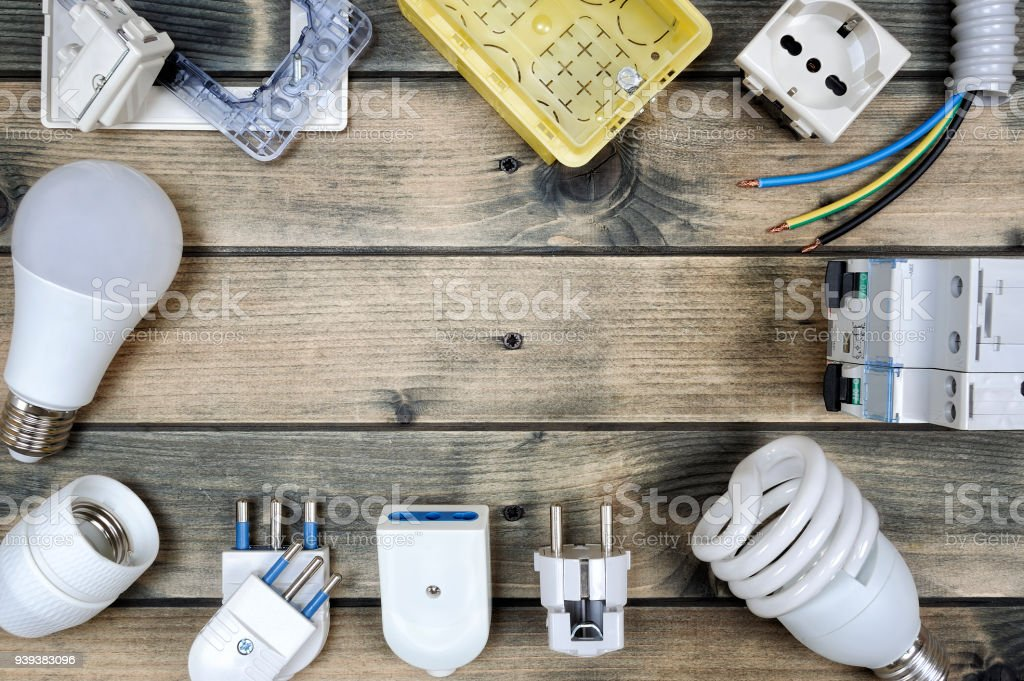 Top View Of Components For Residential Electrical Installation On ...