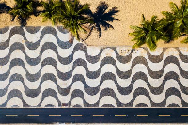 Top View of Copacabana Mosaic Sidewalk stock photo