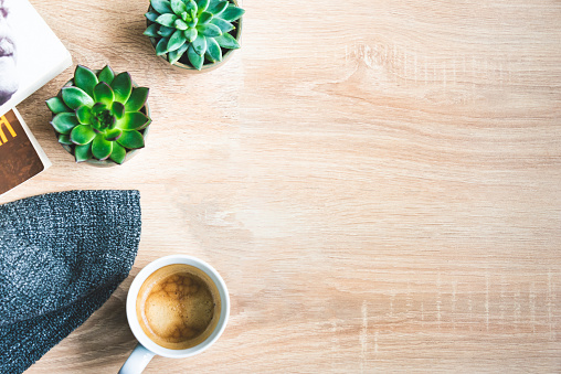Top view of cozy home scene. Books, woolen blanket, cup of coffee and succulent plants over wooden background. Copy space.