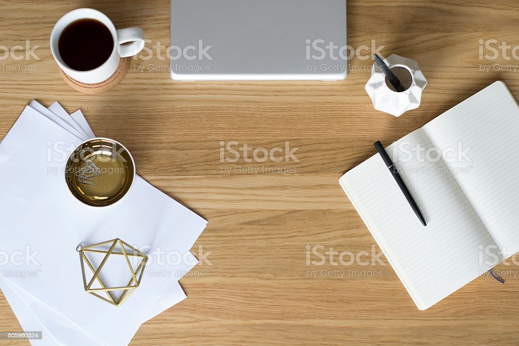 Top view of creative office work space with  Scandinavian theme stock photo