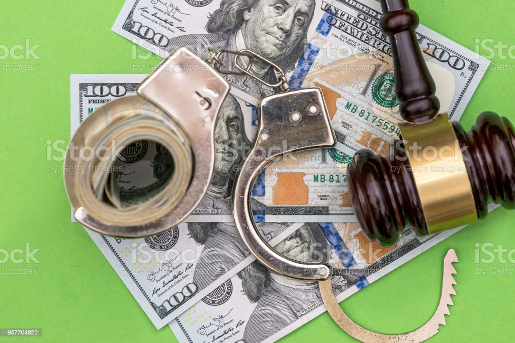 Top view of crime conception on green background stock photo