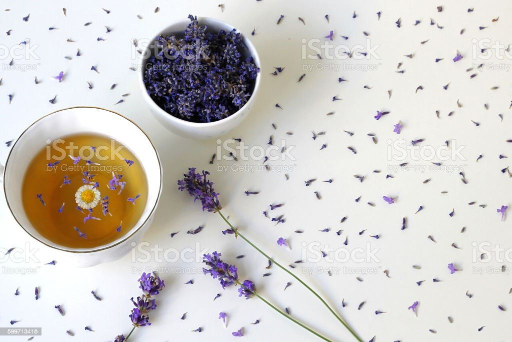 Top view of cup herbal tea drink with lavender flowers. stock photo