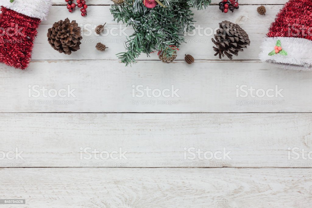 Top view of decoration Happy New year 2018 background concept.Mix variety essential of accessories for season.Different object on the modern rustic white wood office desk.Free space for creative word. stock photo