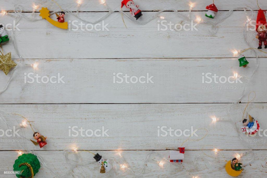 Vue de la décoration fond bonne année et joyeux noël de dessus mix