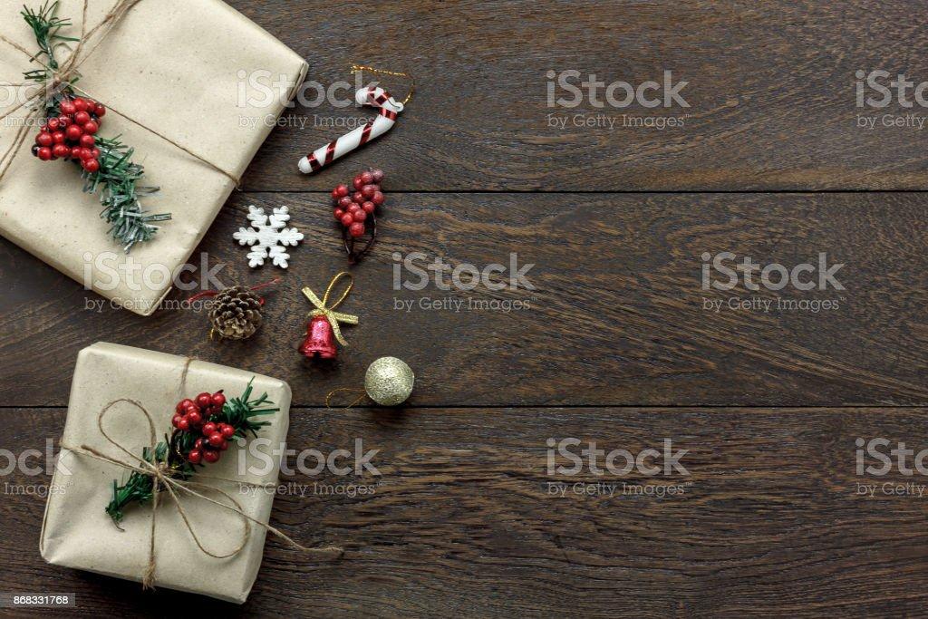 Draufsicht Der Dekoration Ornament Frohe Weihnachten Und Ein Frohes