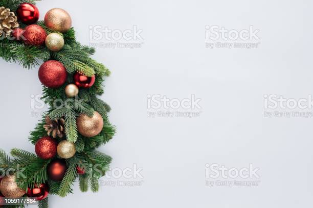 Top view of decorative festive wreath with red and golden christmas picture id1059177864?b=1&k=6&m=1059177864&s=612x612&h=xqg5qat8vfqj kokzz2vdrck r2sg7uwwscsverwgwy=
